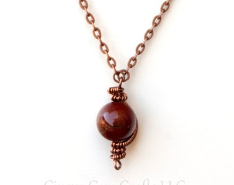 Red jasper necklace, planet necklace, wire wrapped necklace, boho necklace, jasper necklace