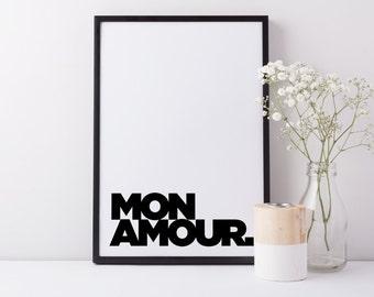 Mon Amour Type Art Print