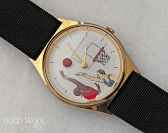 vintage basketball watch - 1980's basketball fan watch - mystery dial - very cool
