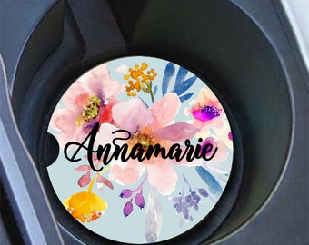 Pretty car decor, Blue floral car coaster, Girly auto decoration, Blue with pink flowers, Name car accessory, Gifts for mother unique (1673)