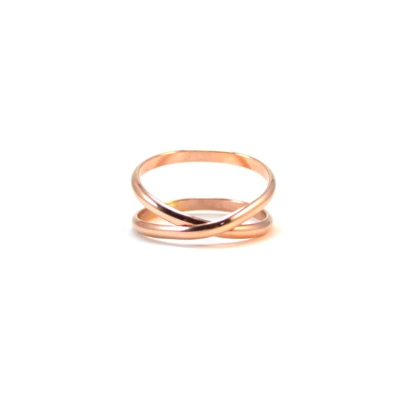 Rose Gold Infinity Band.  Criss Cross Ring. Unique Wedding Band. Pink Gold Crossover