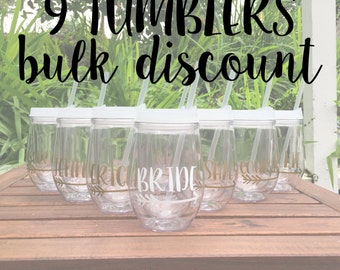 9 Tumblers BULK DISCOUNT: Personalized Wine Tumblers, Beach Theme Tumblers, Bachelorette Party Cups, Stemless Wine Cup, Bev2Go