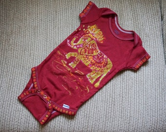 Red Baby Onesie, Batik Bodysuit, Baby Clothing, Baby Shower Gift, One of a Kind Gift for Baby One Piece, Elephant Onesie // 0-3 months