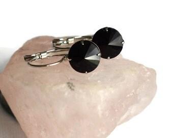 Black Crystal Leverback Earrings - Black Rivoli Earrings - Small Black Earrings - Birthday Gifts - Prom Jewellery - Mothers Day