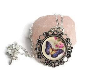 Butterfly Necklace - Butterfly Jewellery - Boho Necklace - Nature Necklace - Cabochoon Necklace - Purple Butterfly - Rhinestone Necklace