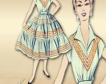 Advance 6760 1960s Sewing Pattern Two Piece Dress  Adaptable for a Western Squaw Dress Bust 34