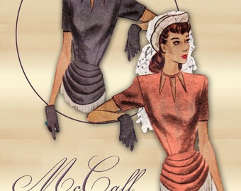 McCall 6948 1940s Swing Era Blouse Pattern with Draped Peplum and Neckline Interest Bust 34