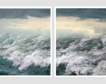 Set of 2 prints, Ocean waves photography, sea water art prints, seascape extra large wall art set, 8x10, 11x14, 12x16, 16x20 metallic prints