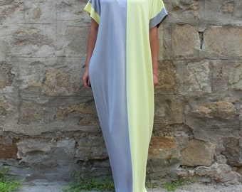 NEW SS16 Maxi dress, Grey and Yellow Caftan, Plus size dress, Caftan Dress, Summer Maxi Dress, Oversized Dress, Cover-Up Dress, Beach dress