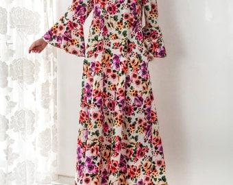 NEW SPRING 2016 Floral Maxi dress, Ruffle Dress, Maxi Dress, Plus size dress, Elegant dress, Party dress, Long dress, Dress with pockets
