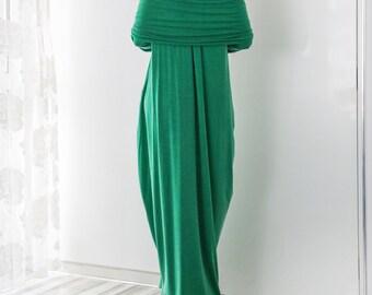 Green Ruffle Dress, Green Maxi Dress, Oversized Dress, Flowing Dress, Summer Dress, Off Shoulder Maxi Dress, Casual Maxi Dress