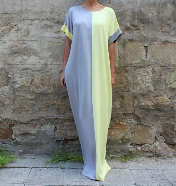 kaftan maxi dress grey and yellow caftan plus size dress. Black Bedroom Furniture Sets. Home Design Ideas