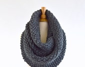 ON SALE Oversized Chunky Infinity Scarf // The York // in Granite