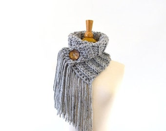 ON SALE Fringed Chunky Scarf Cowl Neckwarmer with One Natural Coconut Shell Button  // The Geneva // in Grey Marble