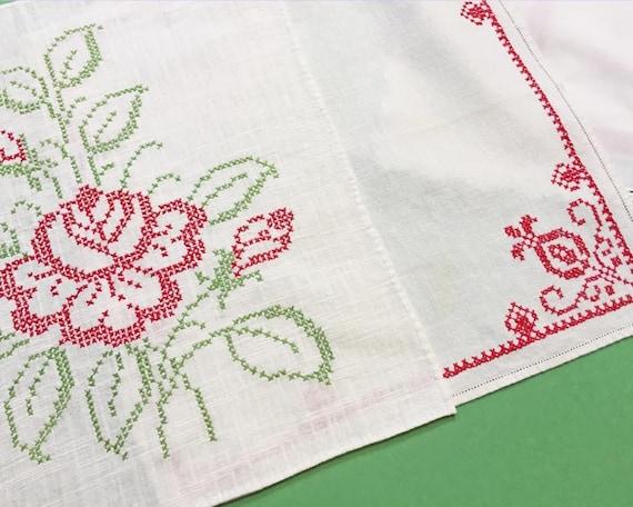Vintage Embroidered Christmas Napkins, Set of 8