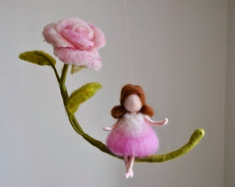 Needle Felted/ Wall Hanging Waldorf inspired / Wool Mobile : Girl and pink rose