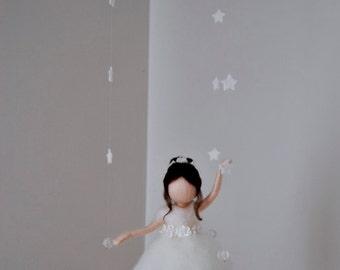 Waldorf inspired needle felted doll mobile: Ballerina in white