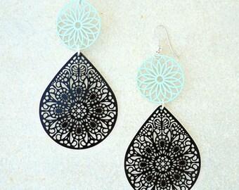 Mint Green earrings, Pastel earrings, teardrop earrings, black earrings, long earrings, summer trends 2018,  lace earrings, beach earrings