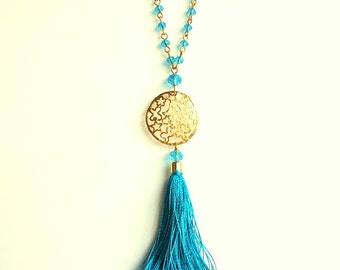 Tassel necklace, Sky blue necklace, Gold chain necklace, spring trends 2016, crystal necklace, turquoise necklace, gold pendant necklace