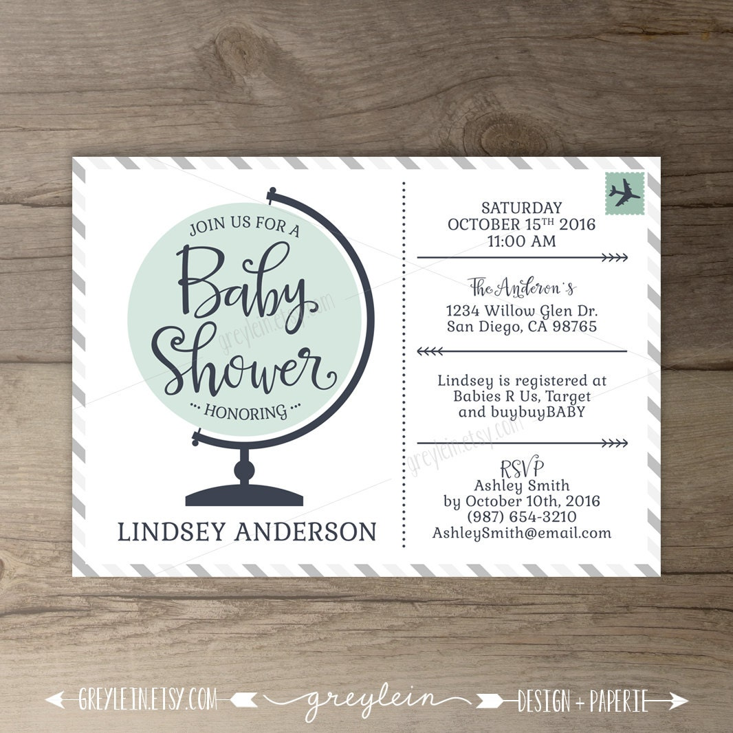 travel theme baby shower invitations globe world map