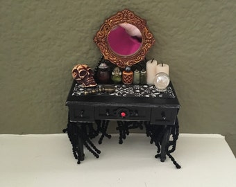 Gothic/Halloween/Witch Vanity w Potion Bottles - Dollhouse Miniature
