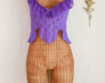 vintage 1980s purple lace ruffle baby doll top