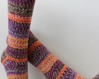 Multi-colored hand knit wool socks