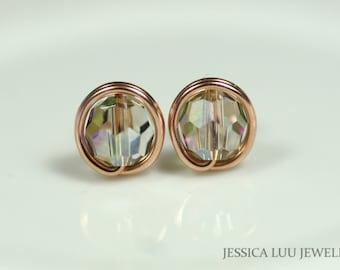 Rose Gold Swarovski Crystal Stud Earrings Wire Wrapped Jewelry Handmade Rose Gold Earrings Iridescent Stud Earring Swarovski Crystal Jewelry