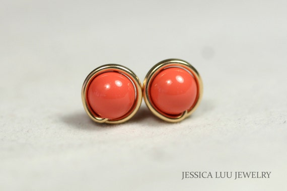 Gold Coral Earrings Wire Wrapped Jewelry Handmade Coral Stud