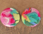 Fabric Covered Button Earrings / Wholesale Jewelry / Abstract Floral Print / OOAK / Gifts for Her / Small Stud Earrings / Hypoallergenic