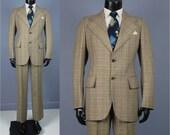 Vintage Suit -- 1970's Men's Pierre Cardin Lightweight Plaid Suit -- Roped Shoulder Wide Lapel Size 35-37