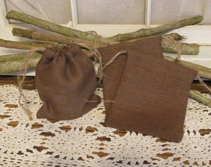 Burlap Party Favor Bags, Brown Burlap Bags, Brown Wedding Favors, Rustic Favor Bag, Burlap Christmas Bag, Set of 5 Handmade Rustic Gift Bags