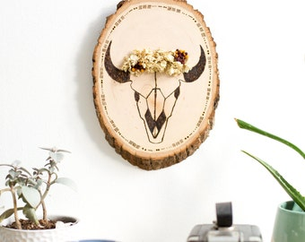 Small Skull with Flower Crown Wall Hanging