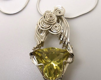29 Carat Lemon Citrine Gemstone Pendant w/Chain Sterling Silver Hand Cut Gem