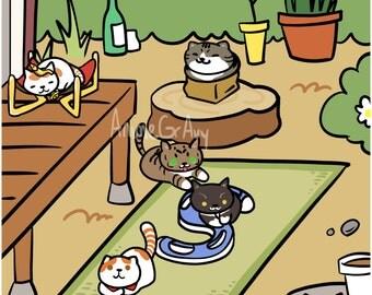 "Neko Atsume Meme Cats 11x17"" Poster Print"