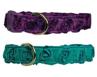 "Rosette 1"" Dog Collar Purple or Turquoise Flower Dog Collar"