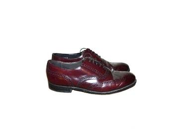 Wingtip Shoes Leather Shoes  Burgundy Wingtip Shoes Laceup Shoes Brogue Oxford Shoes Dexter Wingtips Size 8 9