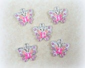 Butterfly Charms - Pink Enamel and Rhinestone Butterfly Charm - Silver and Pink Butterfly Charms - Qty. 4