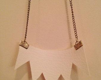 vinyl fabric & chain handmade/cut necklace.