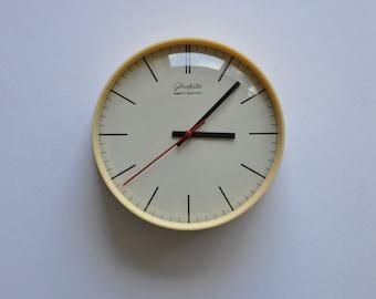 "7.5"" diameter Small Vintage German Wall Clock from Glashütte. Cream. Kitchen Clock.  Glashuette. 1189"