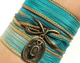 Southwestern Bracelet - Boho Wrap Bracelet - Silk Wrap Bracelet - Silk Anniversary - Infinity Wrap - Teen Gift Idea - Stocking Stuffer Gifts