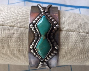 Old Navajo Sterling and Turquoise Handcrafted Heavy Cuff Bracelet