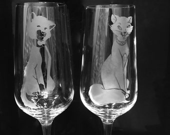 Aristocats Etched Wine Glasses
