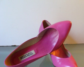 Vintage Bandolino Hot Pink Leather Heels 7.5M Made in Italy