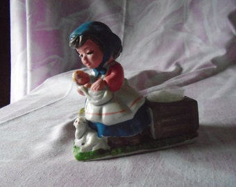 Vintage Verona Vergasi Ceramic Porcelain Figurine with Candle, CMA, Inc, 1979, Made in Taiwan, Mother with Child, Christmas Scene