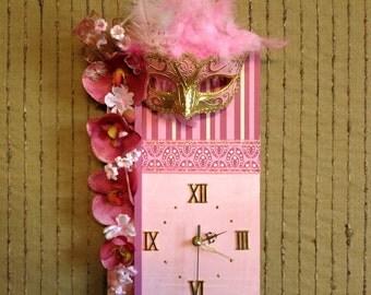 Unique Wall Clock, Venetian Mask Wall Art, Pink Home Decor Modern Contemporary Clock Girls Masquerade Theme Womens Gift, Nchanted Gifts OOAK