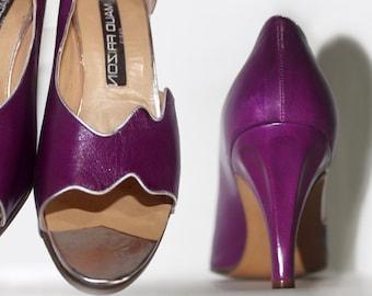 80's Maud Frizon Sculpted Heel Pumps Purple Leather 7