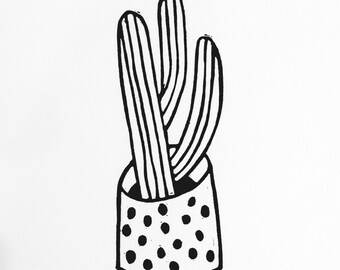 Black and white 'Cacti 3' lino print