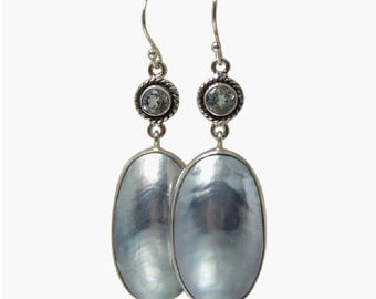 Blue Mabe Pearl Earrings Blue Topaz Drops Osmena Pearl Nautilus Shell Beach Wedding Jewelry