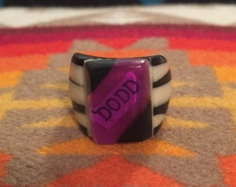 Vintage Celluloid Bakelite Folk Art Prison Ring by Bob Dodd (Size 7-1/4)